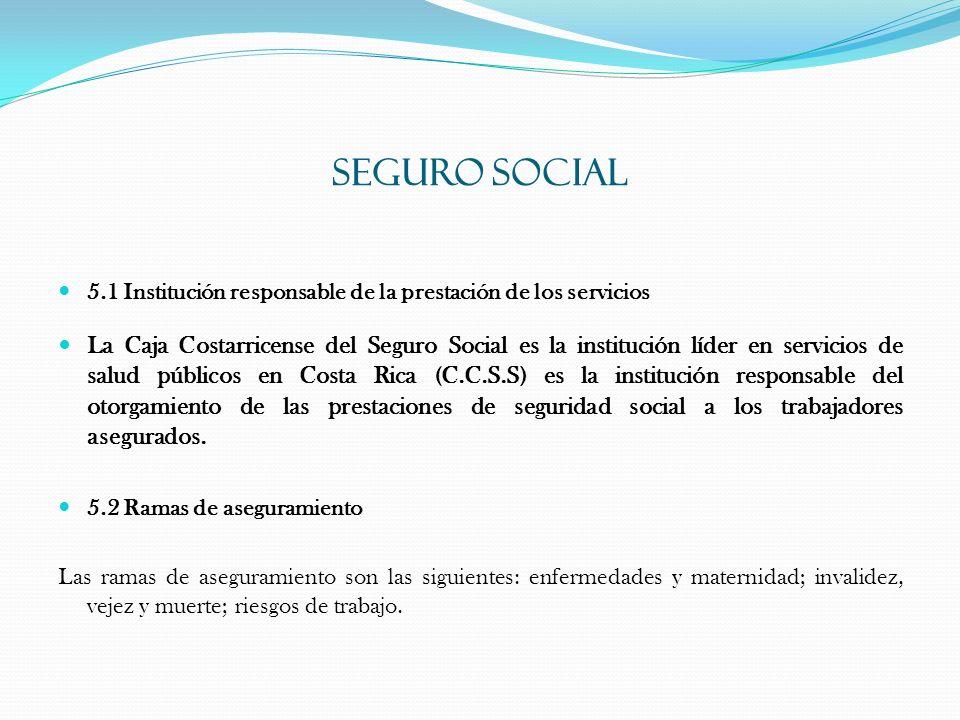SEGURO SOCIAL 5.1 Institución responsable de la prestación de los servicios La Caja Costarricense del Seguro Social es la institución líder en servici