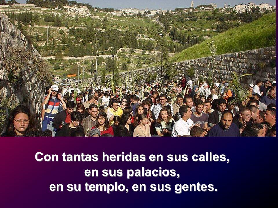Con tantas heridas en sus calles, en sus palacios, en su templo, en sus gentes.