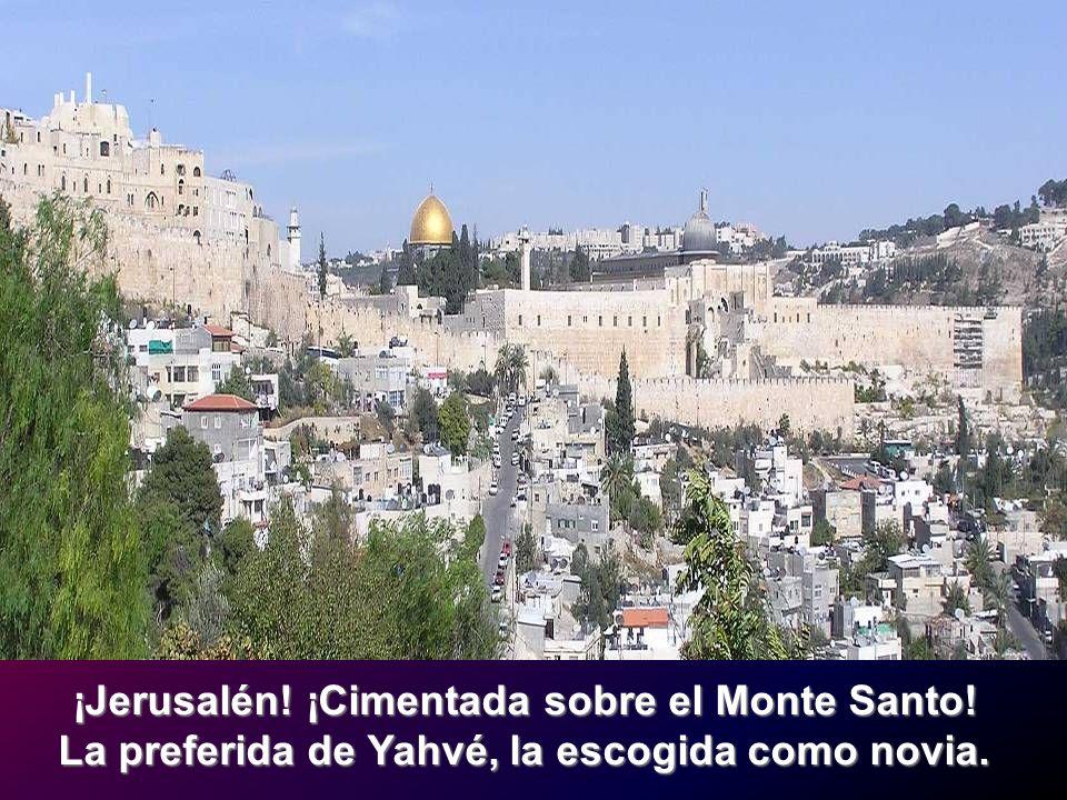 ¡Jerusalén! ¡Cimentada sobre el Monte Santo! La preferida de Yahvé, la escogida como novia.