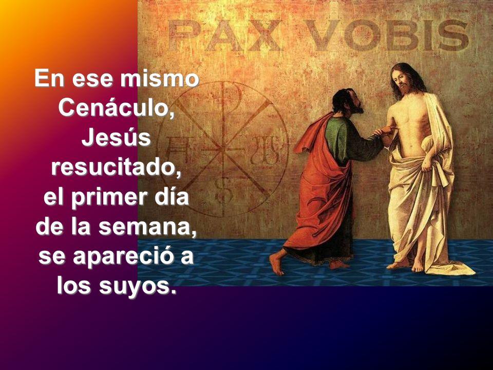 En ese mismo Cenáculo, Jesús resucitado, el primer día de la semana, se apareció a los suyos.