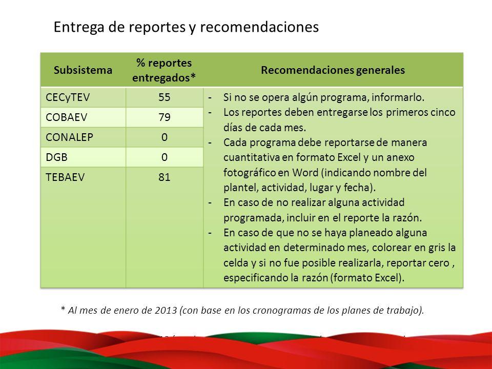 Entrega de reportes y recomendaciones * Al mes de enero de 2013 (con base en los cronogramas de los planes de trabajo. * Al mes de enero de 2013 (con