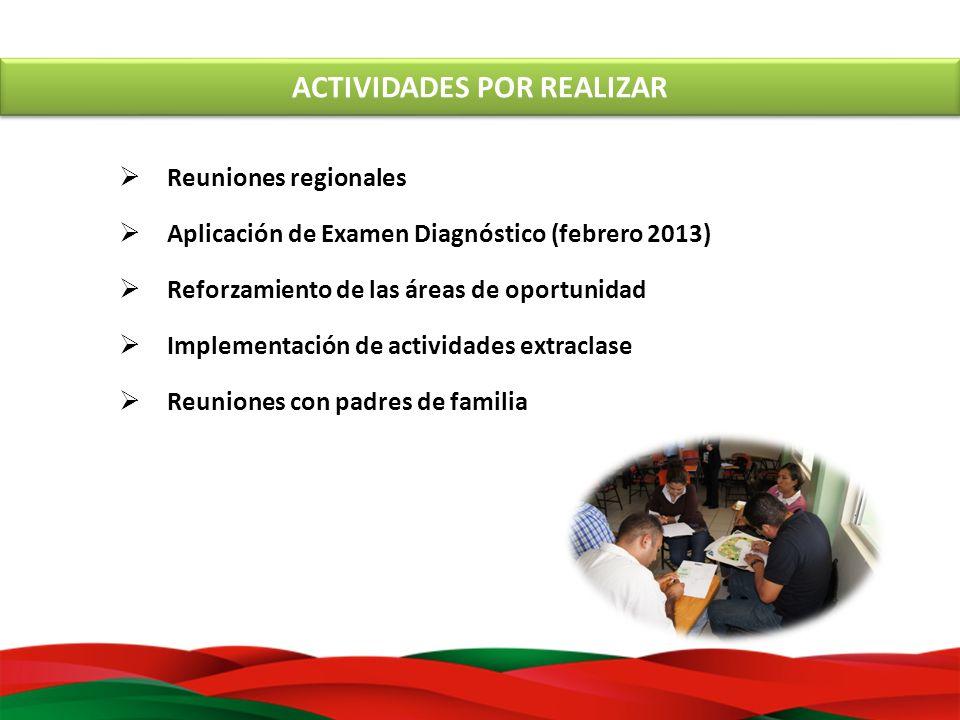 ACTIVIDADES POR REALIZAR Reuniones regionales Aplicación de Examen Diagnóstico (febrero 2013) Reforzamiento de las áreas de oportunidad Implementación