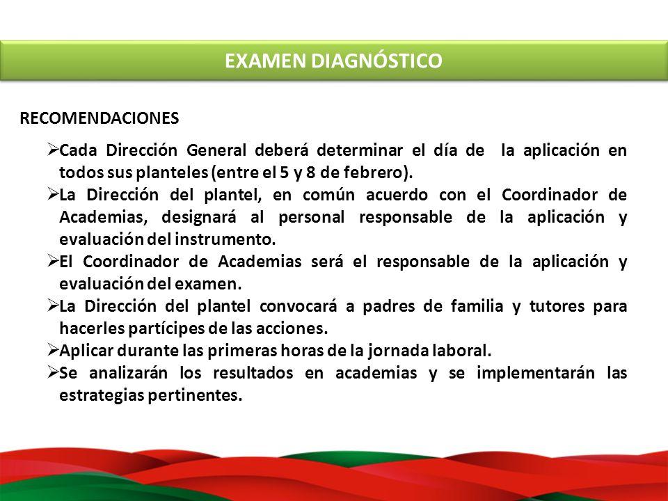 EXAMEN DIAGNÓSTICO RECOMENDACIONES Cada Dirección General deberá determinar el día de la aplicación en todos sus planteles (entre el 5 y 8 de febrero)