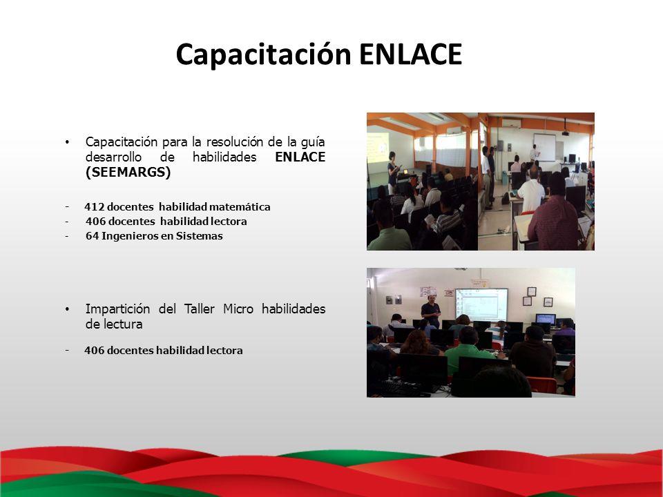 Capacitación ENLACE Capacitación para la resolución de la guía desarrollo de habilidades ENLACE (SEEMARGS) - 412 docentes habilidad matemática -406 do