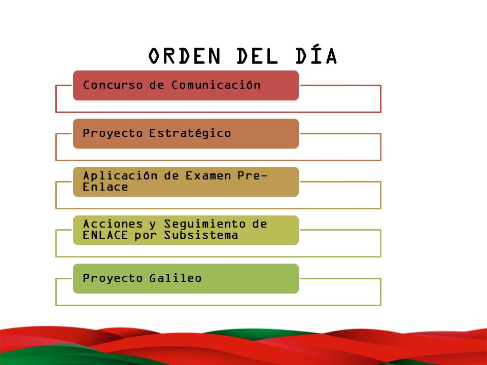 ORDEN DEL DÍA Concurso de ComunicaciónProyecto Estratégico Aplicación de Examen Pre- Enlace Acciones y Seguimiento de ENLACE por Subsistema Proyecto G