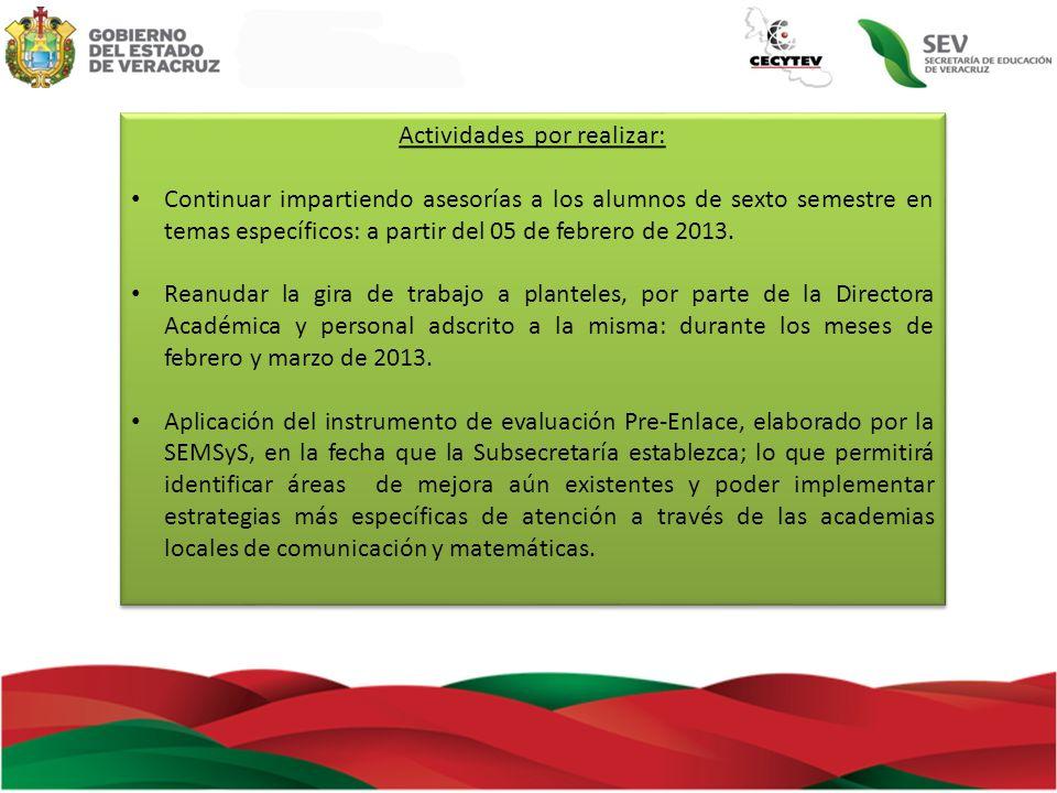 Actividades por realizar: Continuar impartiendo asesorías a los alumnos de sexto semestre en temas específicos: a partir del 05 de febrero de 2013. Re