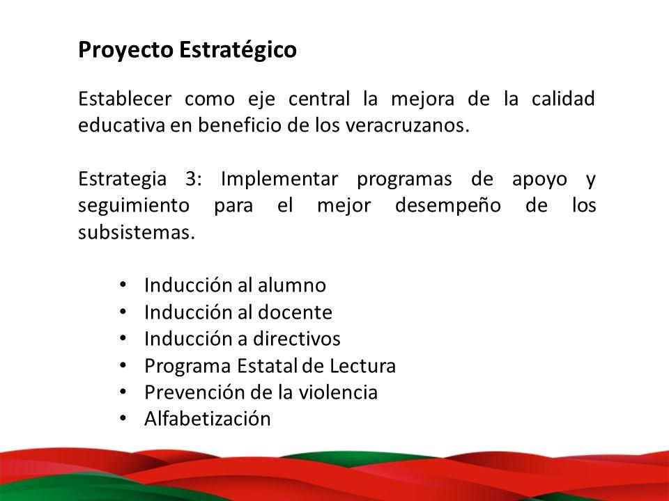Proyecto Estratégico Establecer como eje central la mejora de la calidad educativa en beneficio de los veracruzanos. Estrategia 3: Implementar program