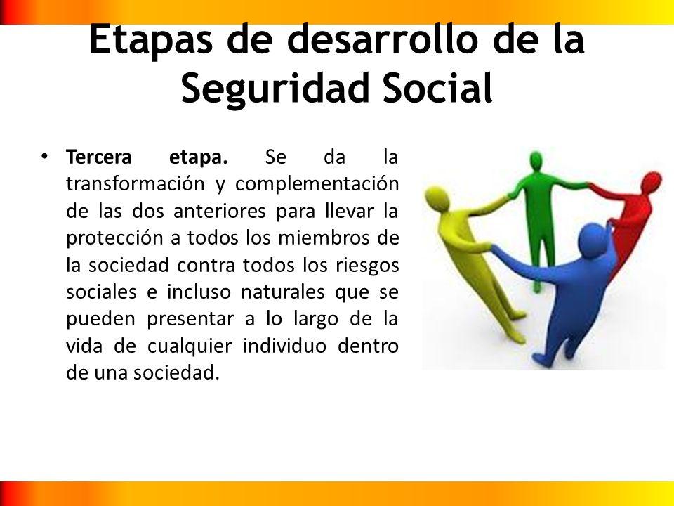 Etapas de desarrollo de la Seguridad Social Tercera etapa. Se da la transformación y complementación de las dos anteriores para llevar la protección a