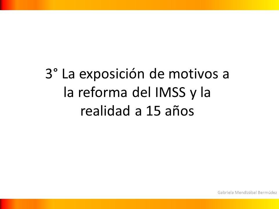Gabriela Mendizábal Bermúdez 3° La exposición de motivos a la reforma del IMSS y la realidad a 15 años