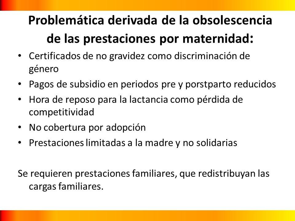 Problemática derivada de la obsolescencia de las prestaciones por maternidad : Certificados de no gravidez como discriminación de género Pagos de subs