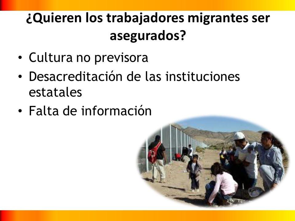 ¿Quieren los trabajadores migrantes ser asegurados? Cultura no previsora Desacreditación de las instituciones estatales Falta de información