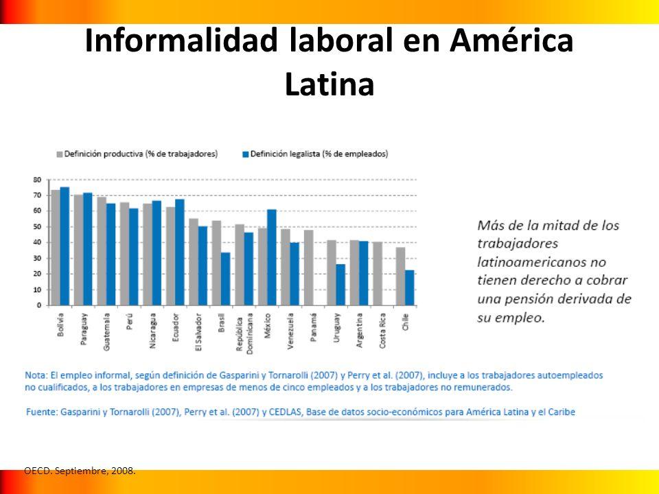 Informalidad laboral en América Latina OECD. Septiembre, 2008.