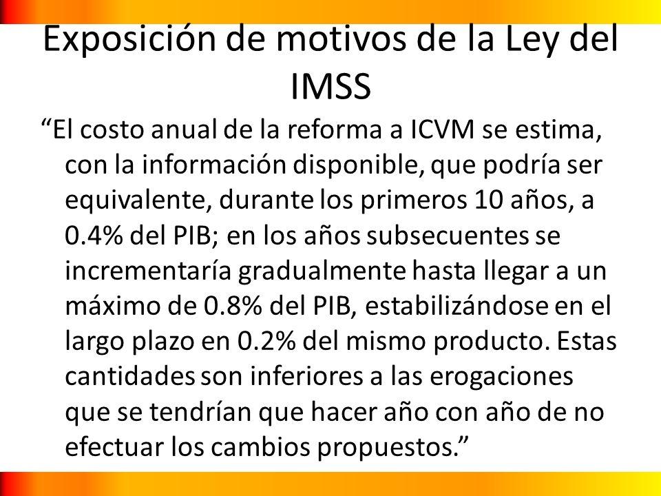 Exposición de motivos de la Ley del IMSS El costo anual de la reforma a ICVM se estima, con la información disponible, que podría ser equivalente, dur
