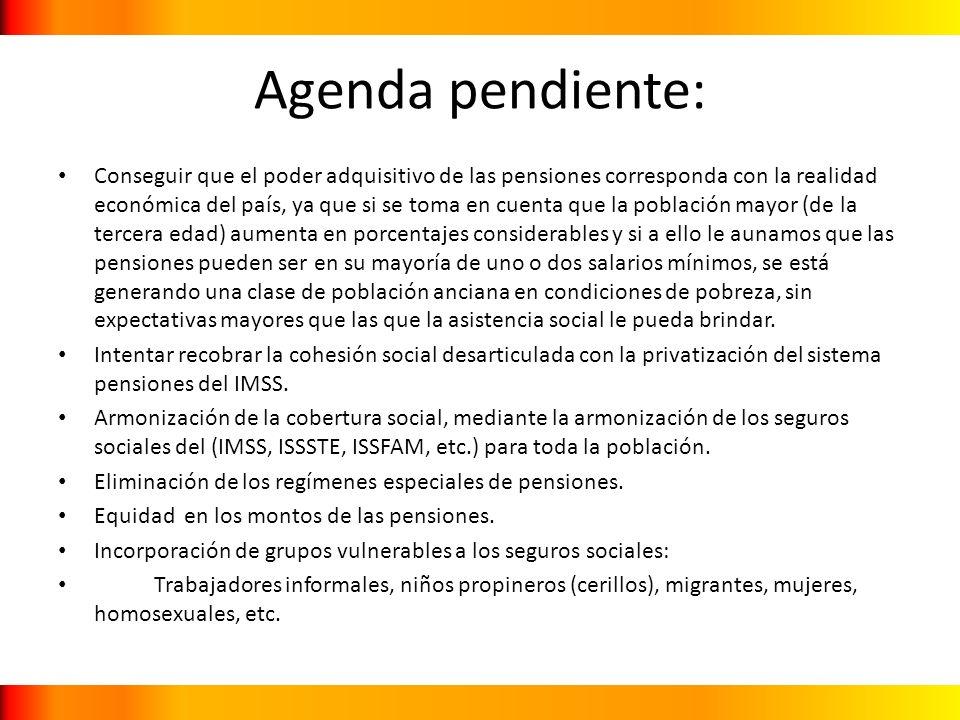Agenda pendiente: Conseguir que el poder adquisitivo de las pensiones corresponda con la realidad económica del país, ya que si se toma en cuenta que