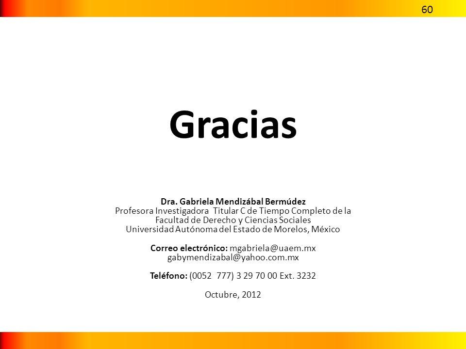 Gracias Dra. Gabriela Mendizábal Bermúdez Profesora Investigadora Titular C de Tiempo Completo de la Facultad de Derecho y Ciencias Sociales Universid