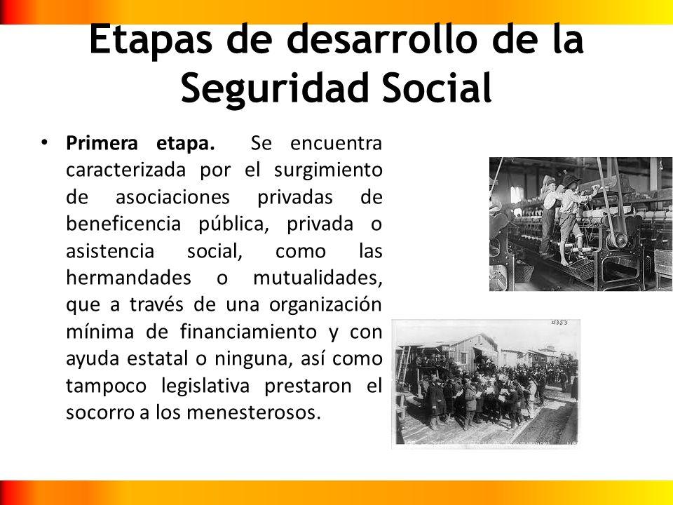 Etapas de desarrollo de la Seguridad Social Primera etapa. Se encuentra caracterizada por el surgimiento de asociaciones privadas de beneficencia públ