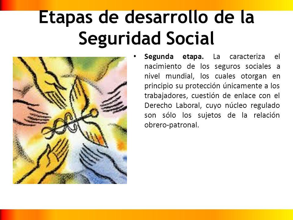 Etapas de desarrollo de la Seguridad Social Segunda etapa. La caracteriza el nacimiento de los seguros sociales a nivel mundial, los cuales otorgan en