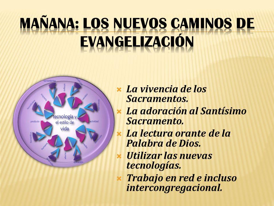 La vivencia de los Sacramentos.La adoración al Santísimo Sacramento.