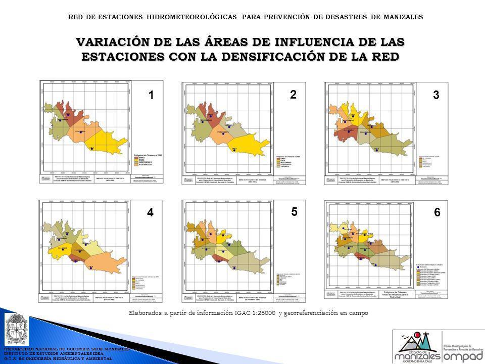 Elaborados a partir de información IGAC 1:25000 y georreferenciación en campo 1 2 3 4 5 VARIACIÓN DE LAS ÁREAS DE INFLUENCIA DE LAS ESTACIONES CON LA