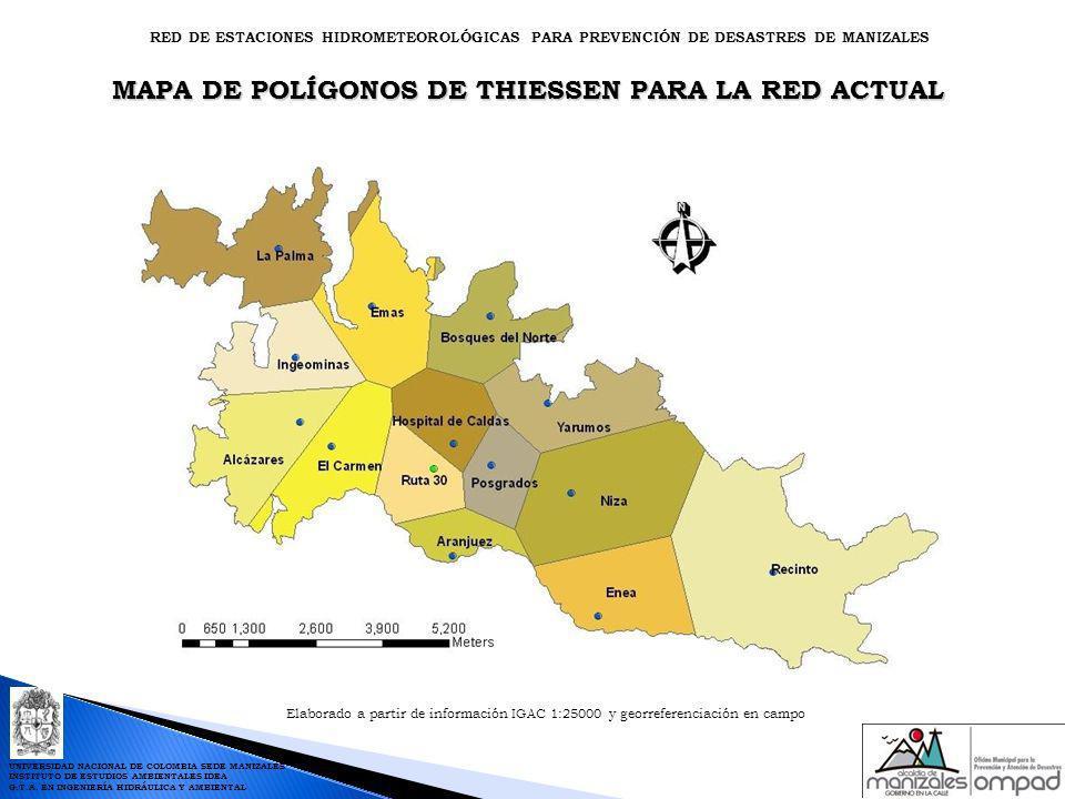MAPA DE POLÍGONOS DE THIESSEN PARA LA RED ACTUAL Elaborado a partir de información IGAC 1:25000 y georreferenciación en campo RED DE ESTACIONES HIDROM