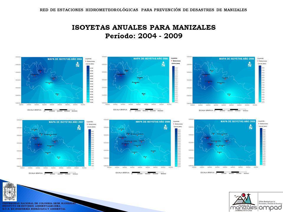 ISOYETAS ANUALES PARA MANIZALES Período: 2004 - 2009 RED DE ESTACIONES HIDROMETEOROLÓGICAS PARA PREVENCIÓN DE DESASTRES DE MANIZALES UNIVERSIDAD NACIO