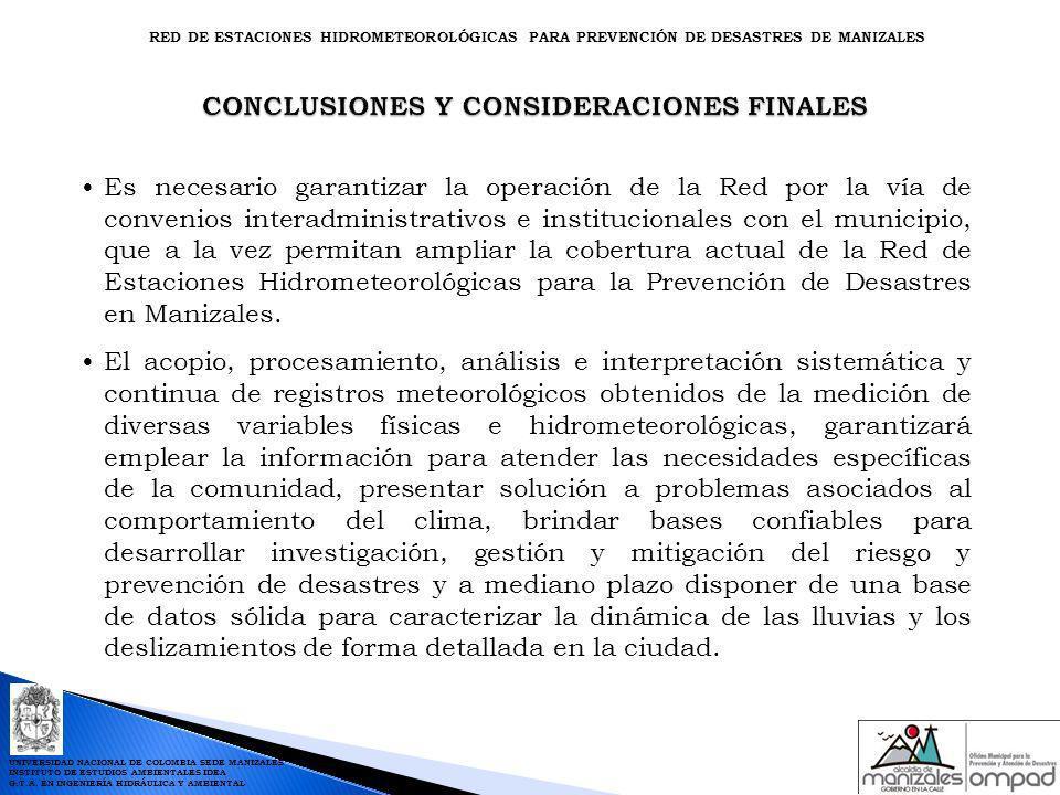CONCLUSIONES Y CONSIDERACIONES FINALES CONCLUSIONES Y CONSIDERACIONES FINALES Es necesario garantizar la operación de la Red por la vía de convenios i
