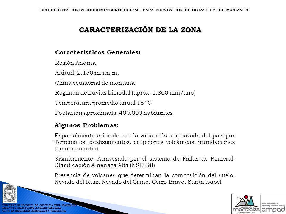 PUBLICACIÓN DE INFORMACIÓN PROCESADA EN INTERNET RED DE ESTACIONES HIDROMETEOROLÓGICAS PARA PREVENCIÓN DE DESASTRES DE MANIZALES Website: www.manizales.unal.edu.co/idea UNIVERSIDAD NACIONAL DE COLOMBIA SEDE MANIZALES INSTITUTO DE ESTUDIOS AMBIENTALES IDEA G.T.A.