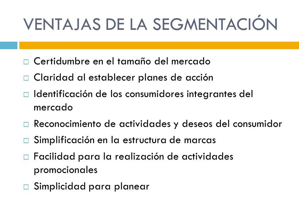 VENTAJAS DE LA SEGMENTACIÓN Certidumbre en el tamaño del mercado Claridad al establecer planes de acción Identificación de los consumidores integrante