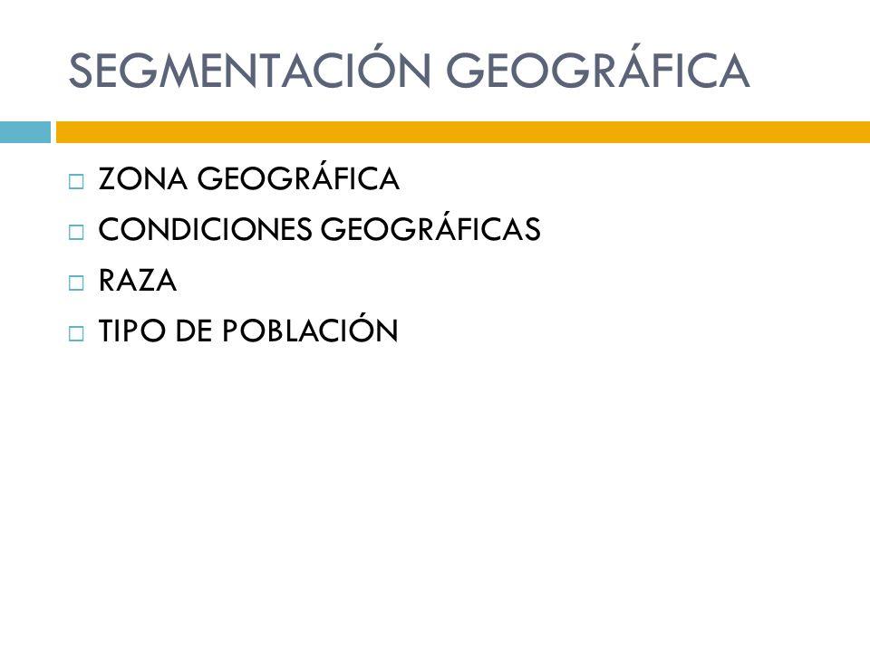 SEGMENTACIÓN GEOGRÁFICA ZONA GEOGRÁFICA CONDICIONES GEOGRÁFICAS RAZA TIPO DE POBLACIÓN