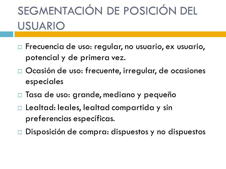 SEGMENTACIÓN DE POSICIÓN DEL USUARIO Frecuencia de uso: regular, no usuario, ex usuario, potencial y de primera vez. Ocasión de uso: frecuente, irregu