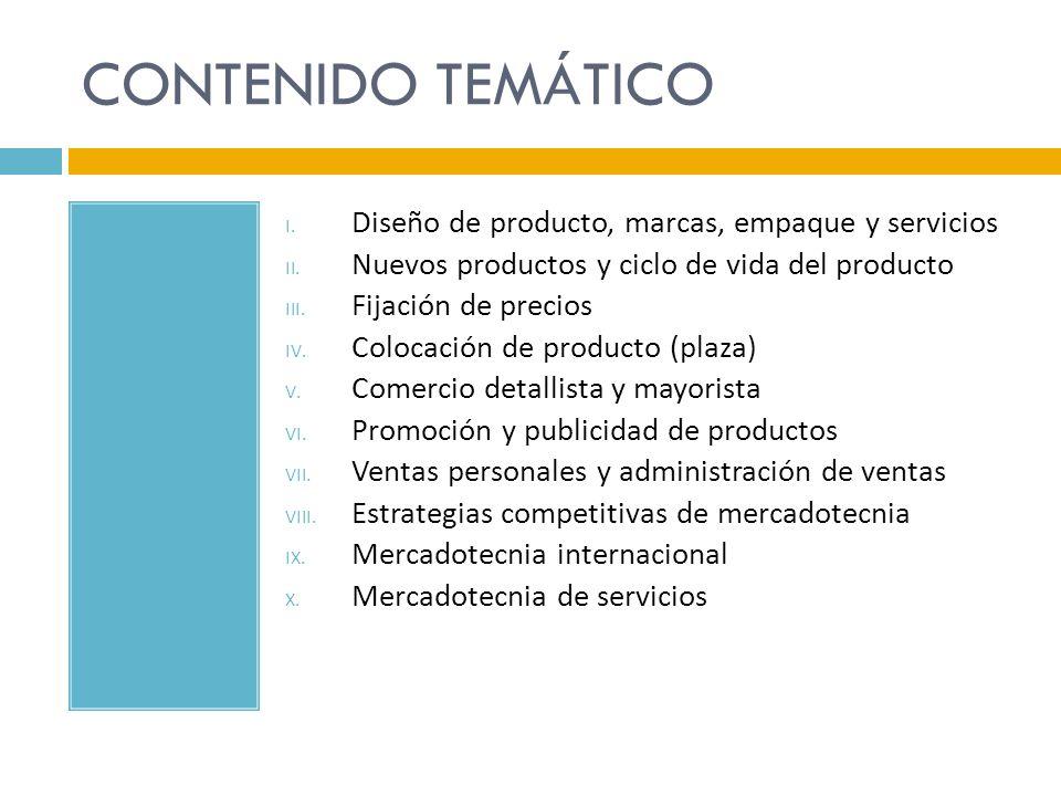 CONTENIDO TEMÁTICO I. Diseño de producto, marcas, empaque y servicios II. Nuevos productos y ciclo de vida del producto III. Fijación de precios IV. C
