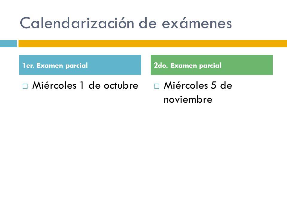 Calendarización de exámenes Miércoles 1 de octubre Miércoles 5 de noviembre 1er. Examen parcial2do. Examen parcial