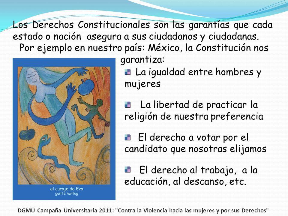 Los Derechos Constitucionales son las garantías que cada estado o nación asegura a sus ciudadanos y ciudadanas. Por ejemplo en nuestro país: México, l