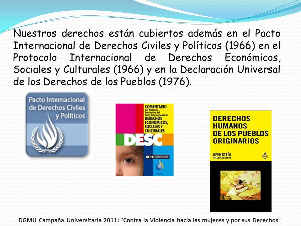 Nuestros derechos están cubiertos además en el Pacto Internacional de Derechos Civiles y Políticos (1966) en el Protocolo Internacional de Derechos Ec