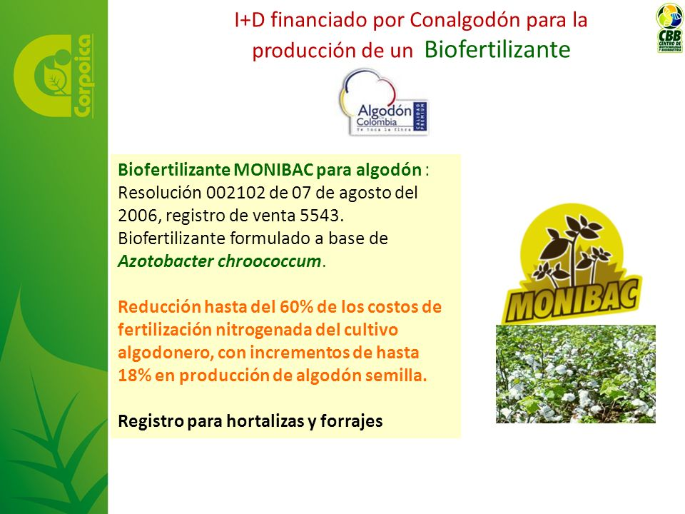Biofertilizante MONIBAC para algodón : Resolución 002102 de 07 de agosto del 2006, registro de venta 5543. Biofertilizante formulado a base de Azotoba