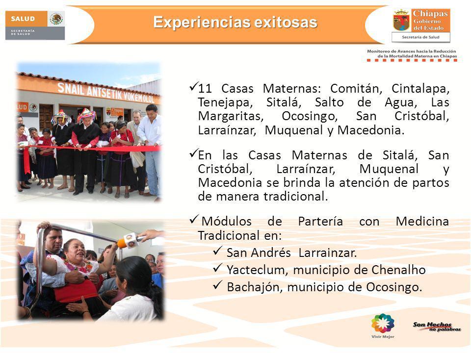 11 Casas Maternas: Comitán, Cintalapa, Tenejapa, Sitalá, Salto de Agua, Las Margaritas, Ocosingo, San Cristóbal, Larraínzar, Muquenal y Macedonia. En