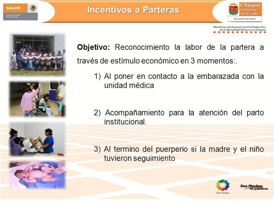 Objetivo: Reconocimiento la labor de la partera a través de estímulo económico en 3 momentos:. 1) Al poner en contacto a la embarazada con la unidad m