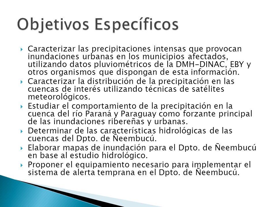 Caracterizar las precipitaciones intensas que provocan inundaciones urbanas en los municipios afectados, utilizando datos pluviométricos de la DMH-DINAC, EBY y otros organismos que dispongan de esta información.