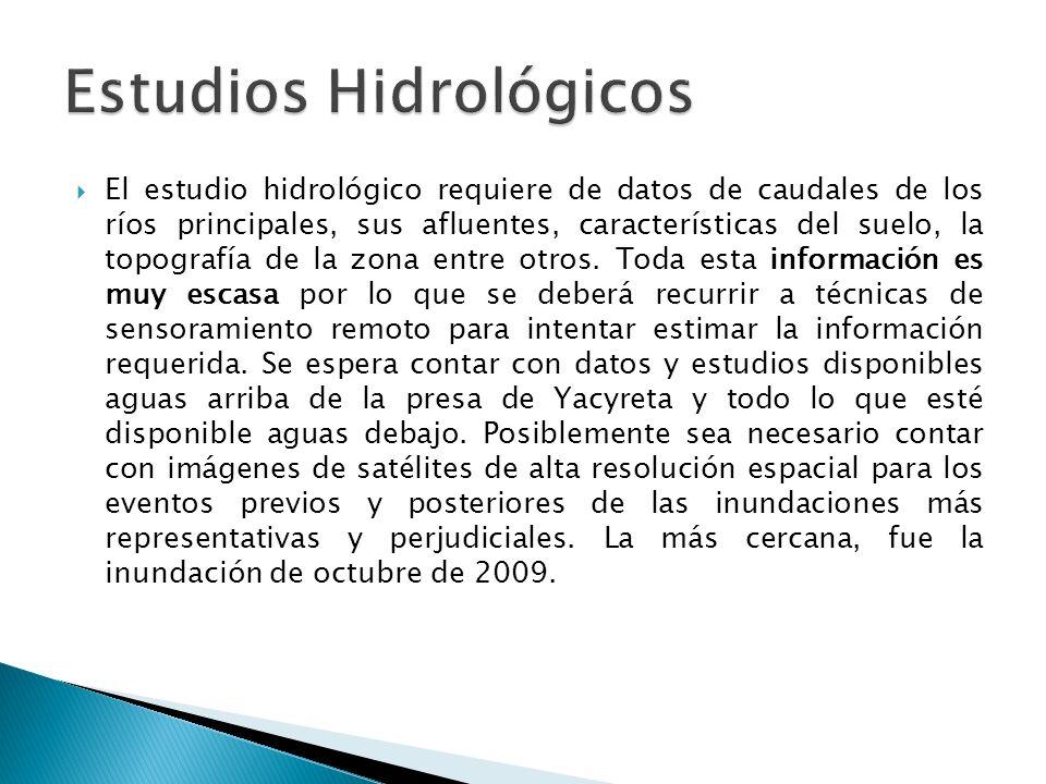 El estudio hidrológico requiere de datos de caudales de los ríos principales, sus afluentes, características del suelo, la topografía de la zona entre otros.