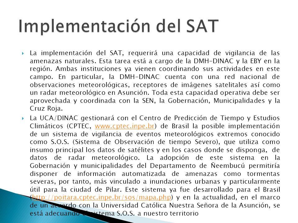 La implementación del SAT, requerirá una capacidad de vigilancia de las amenazas naturales. Esta tarea está a cargo de la DMH-DINAC y la EBY en la reg