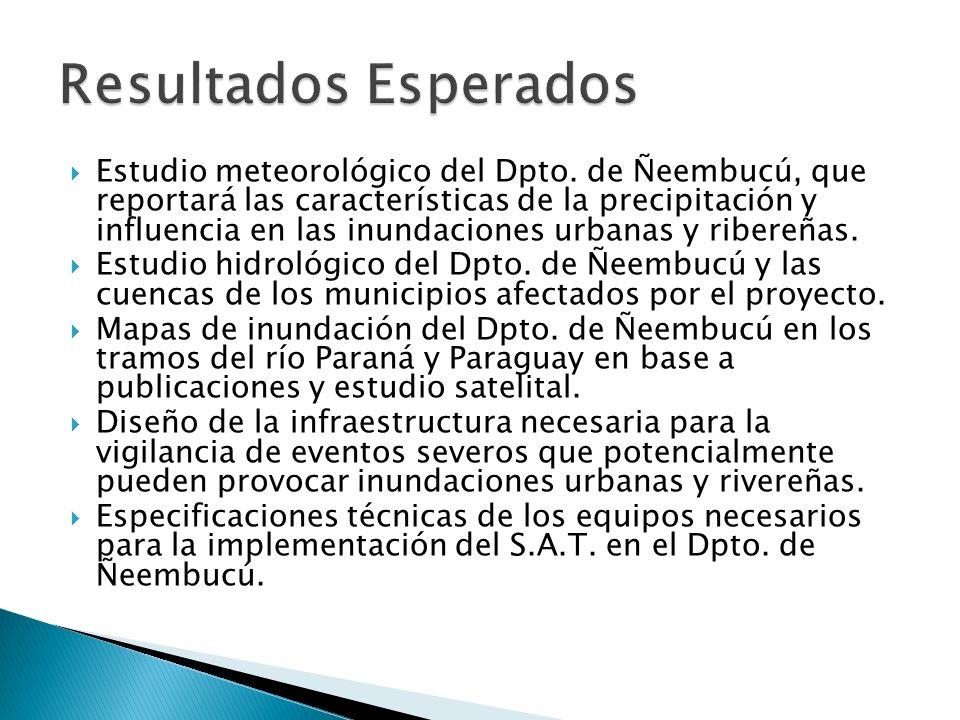 Estudio meteorológico del Dpto. de Ñeembucú, que reportará las características de la precipitación y influencia en las inundaciones urbanas y ribereña