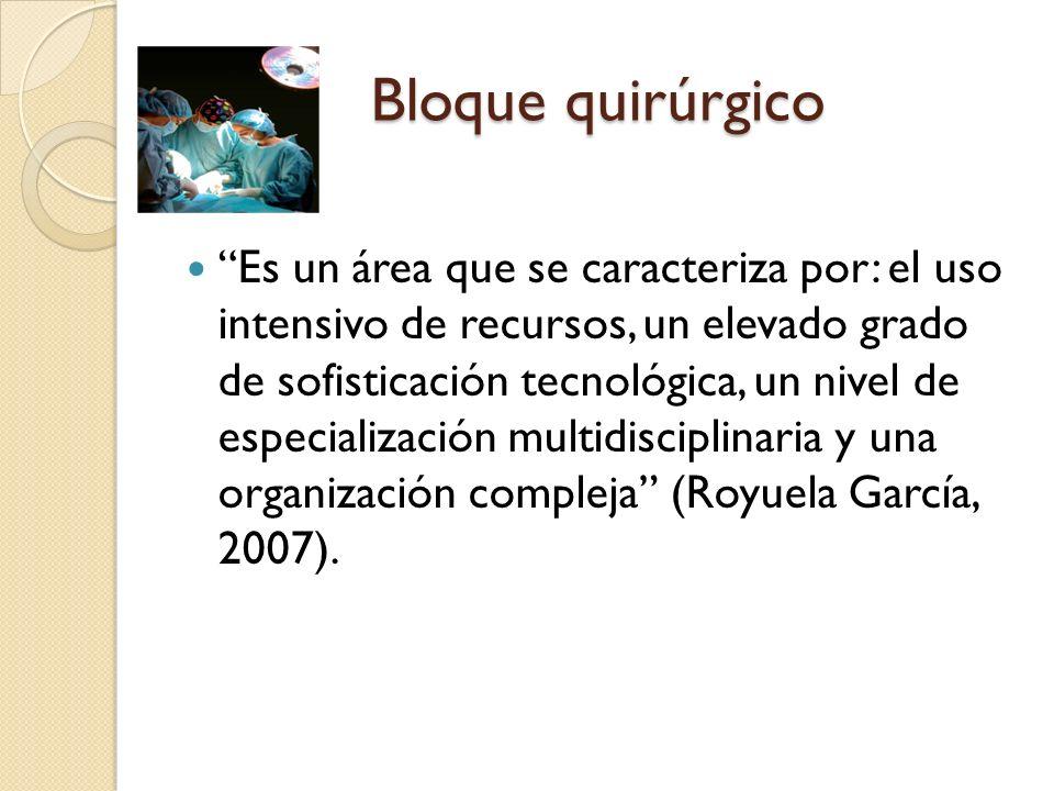 Bloque quirúrgico Es un área que se caracteriza por: el uso intensivo de recursos, un elevado grado de sofisticación tecnológica, un nivel de especial