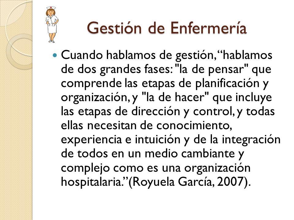 Gestión de Enfermería Cuando hablamos de gestión, hablamos de dos grandes fases: