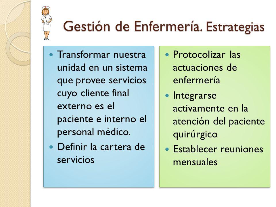 Gestión de Enfermería. Estrategias Gestión de Enfermería. Estrategias Transformar nuestra unidad en un sistema que provee servicios cuyo cliente final