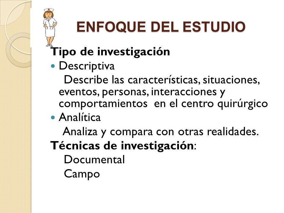 ENFOQUE DEL ESTUDIO Tipo de investigación Descriptiva Describe las características, situaciones, eventos, personas, interacciones y comportamientos en