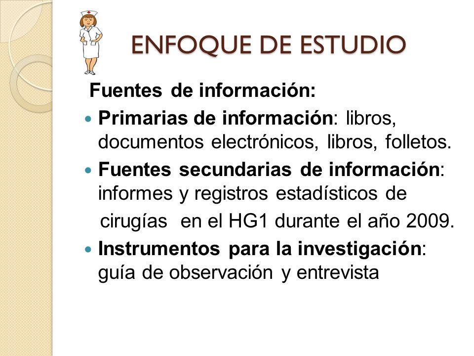 ENFOQUE DE ESTUDIO Fuentes de información: Primarias de información: libros, documentos electrónicos, libros, folletos. Fuentes secundarias de informa