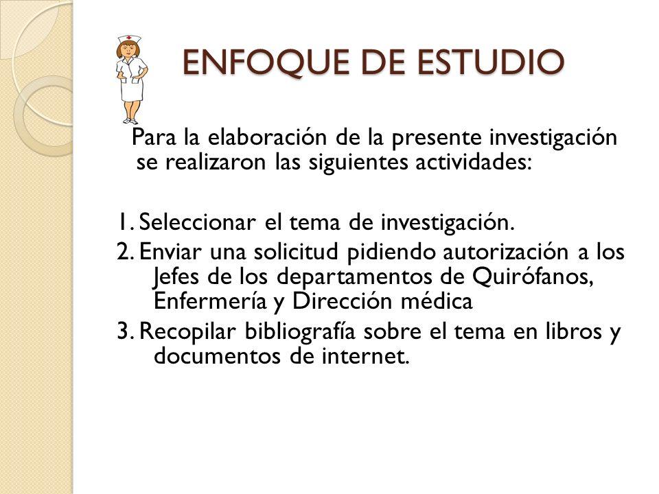 ENFOQUE DE ESTUDIO Para la elaboración de la presente investigación se realizaron las siguientes actividades: 1. Seleccionar el tema de investigación.