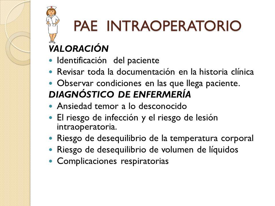 PAE INTRAOPERATORIO PAE INTRAOPERATORIO VALORACIÓN Identificación del paciente Revisar toda la documentación en la historia clínica Observar condicion