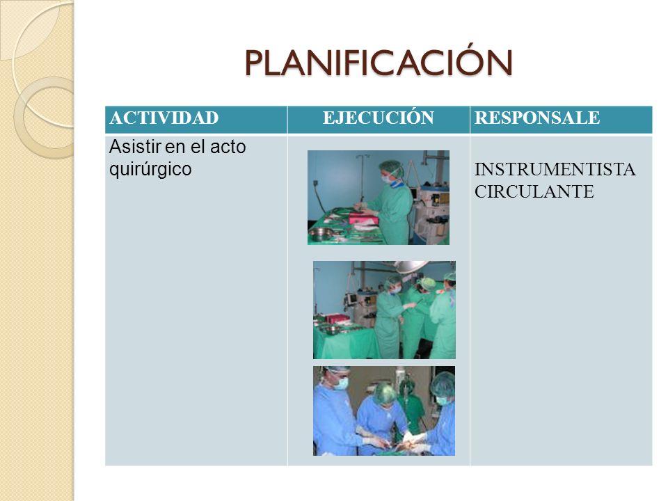 PLANIFICACIÓN ACTIVIDADEJECUCIÓNRESPONSALE Asistir en el acto quirúrgico INSTRUMENTISTA CIRCULANTE