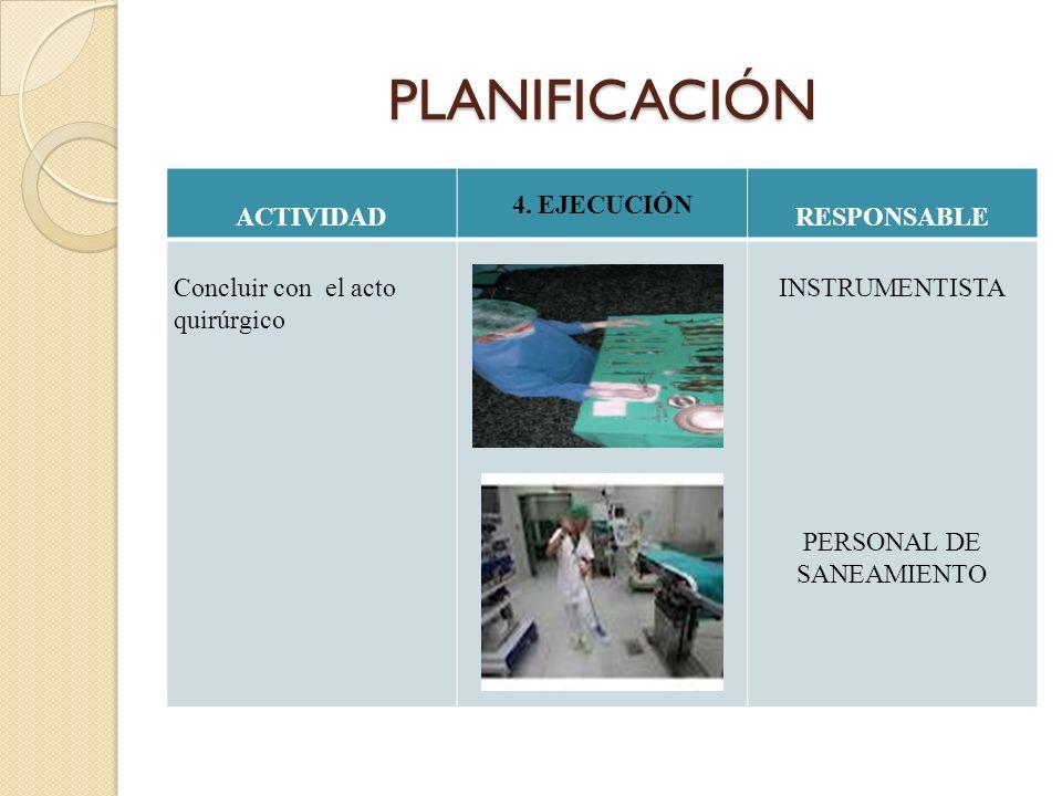 PLANIFICACIÓN ACTIVIDAD 4. EJECUCIÓN RESPONSABLE Concluir con el acto quirúrgico INSTRUMENTISTA PERSONAL DE SANEAMIENTO